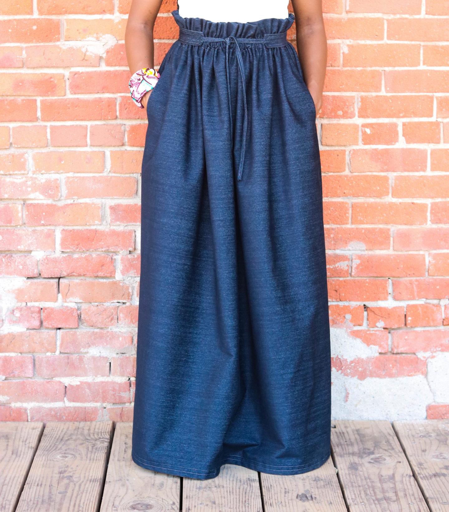 Denim Skirt, Paperbag Skirt, DIY Paperbag Maxi Skirt, Maxi Skirt, Denim Maxi Skirt