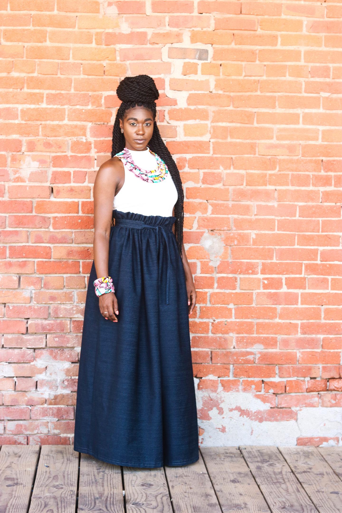 dd7021ecf6 Denim Skirt, Paperbag Skirt, DIY Paperbag Maxi Skirt, Maxi Skirt, Denim  Maxi ...