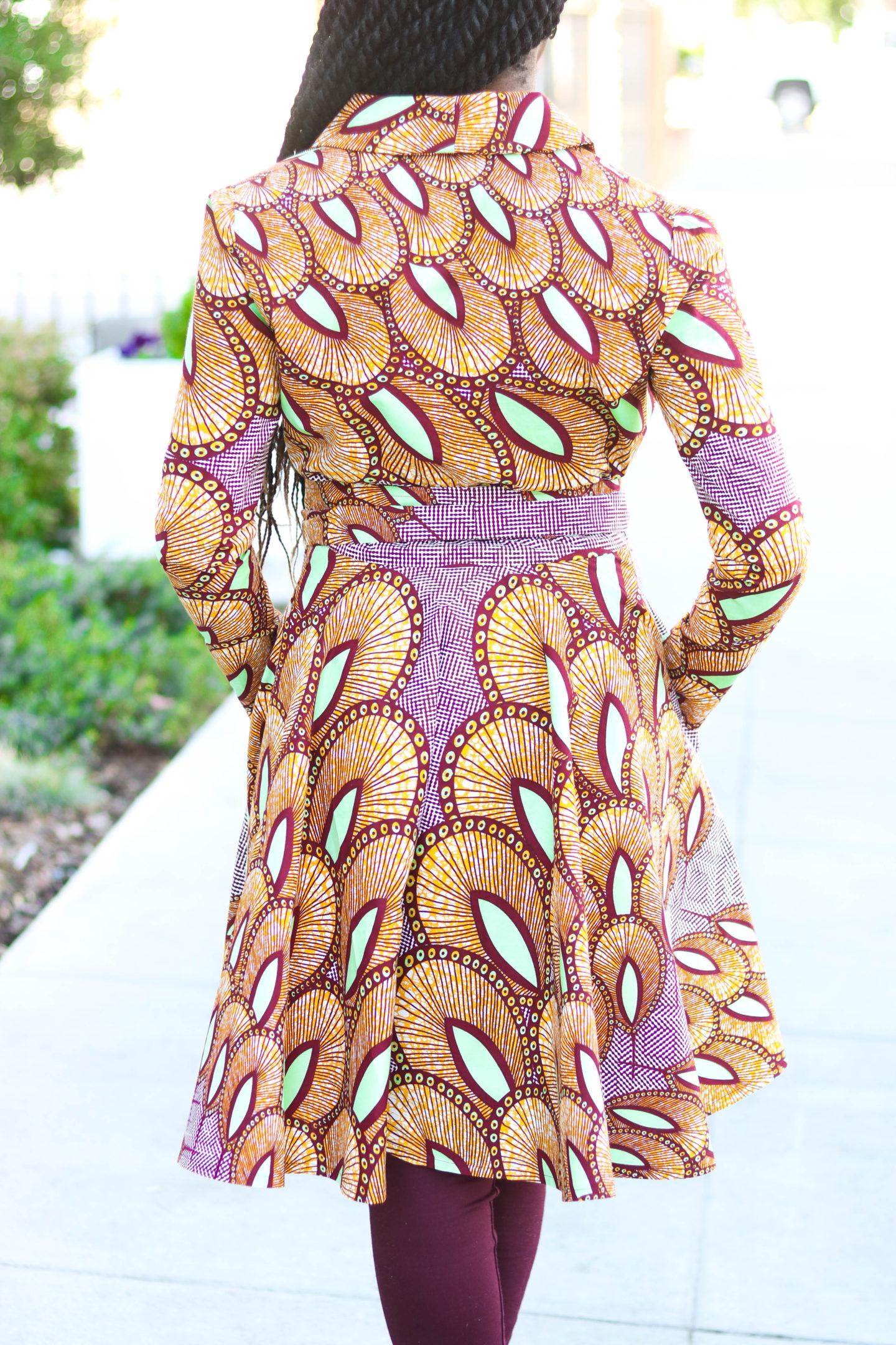 DIY African Ankara Print Coat Dress with Pockets Tutorial M6844, African Fashion, Kitenge, Nigerian Fashion, Ghanaian Fashion, Modern African Fashion, Beginners Sewing Tutorial
