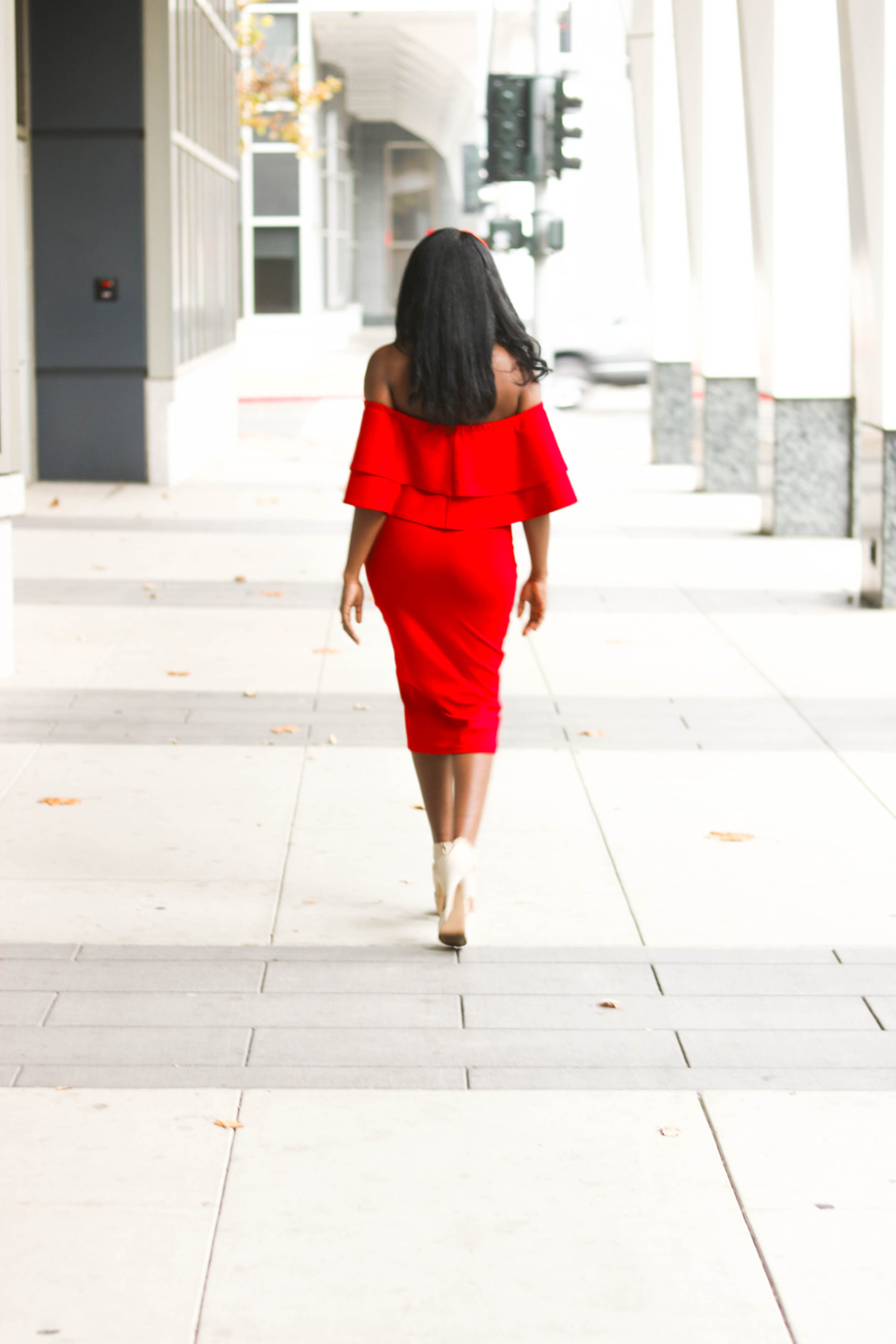 DIY Off the shoulder bodycon dress with flounce flutter, sewing tutorials, flounce, flutter, red dress, red body con dress, red off the shoulder dress, Christmas Dress, Valentines Day Dress, Double Flutter, Double Flounce, Midi body con dress, holiday dress