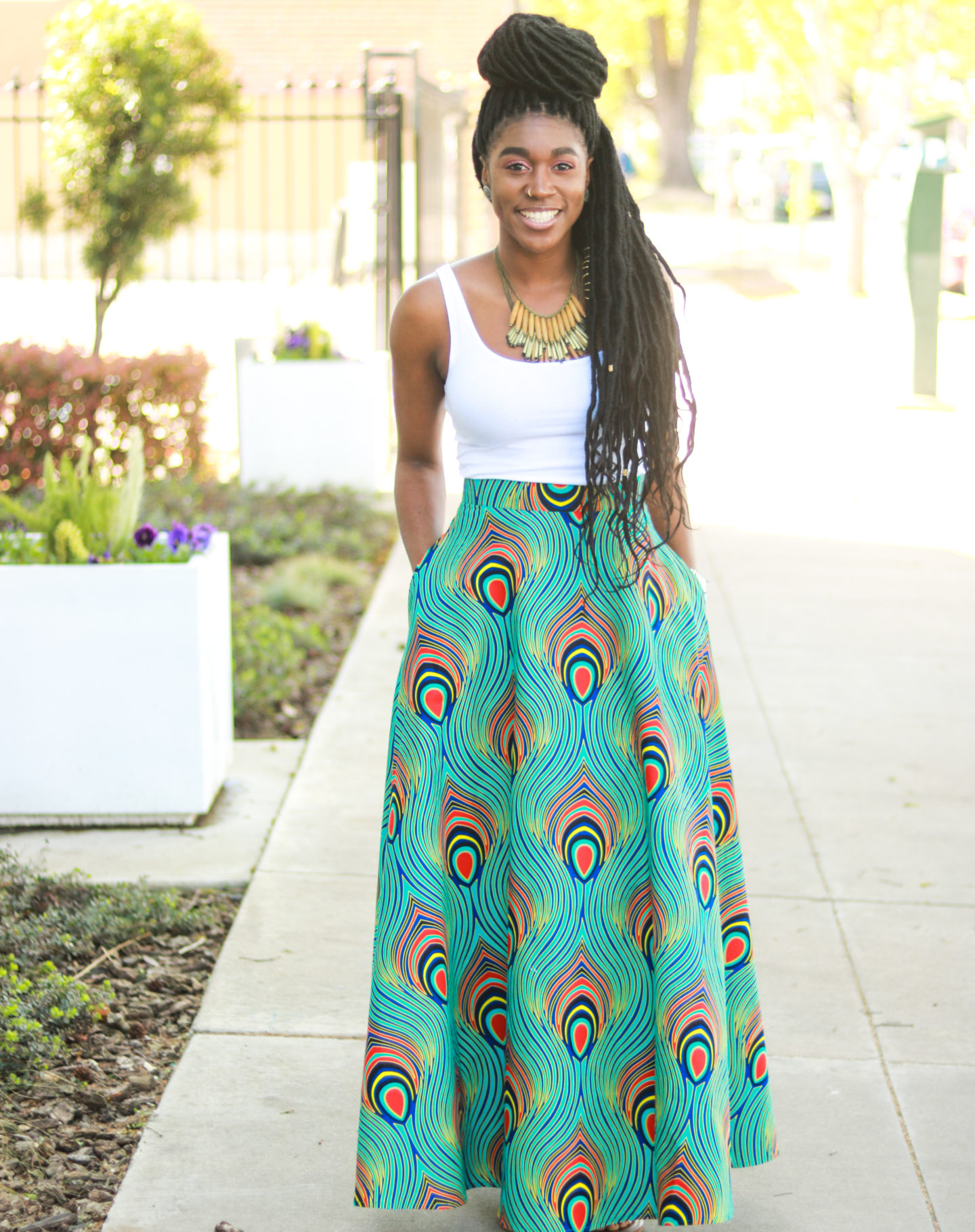 f007ce9ed0 DIY Half Circle Skirt with Pockets Tutorial Maxi Midi Ankara African Wax  Print ...