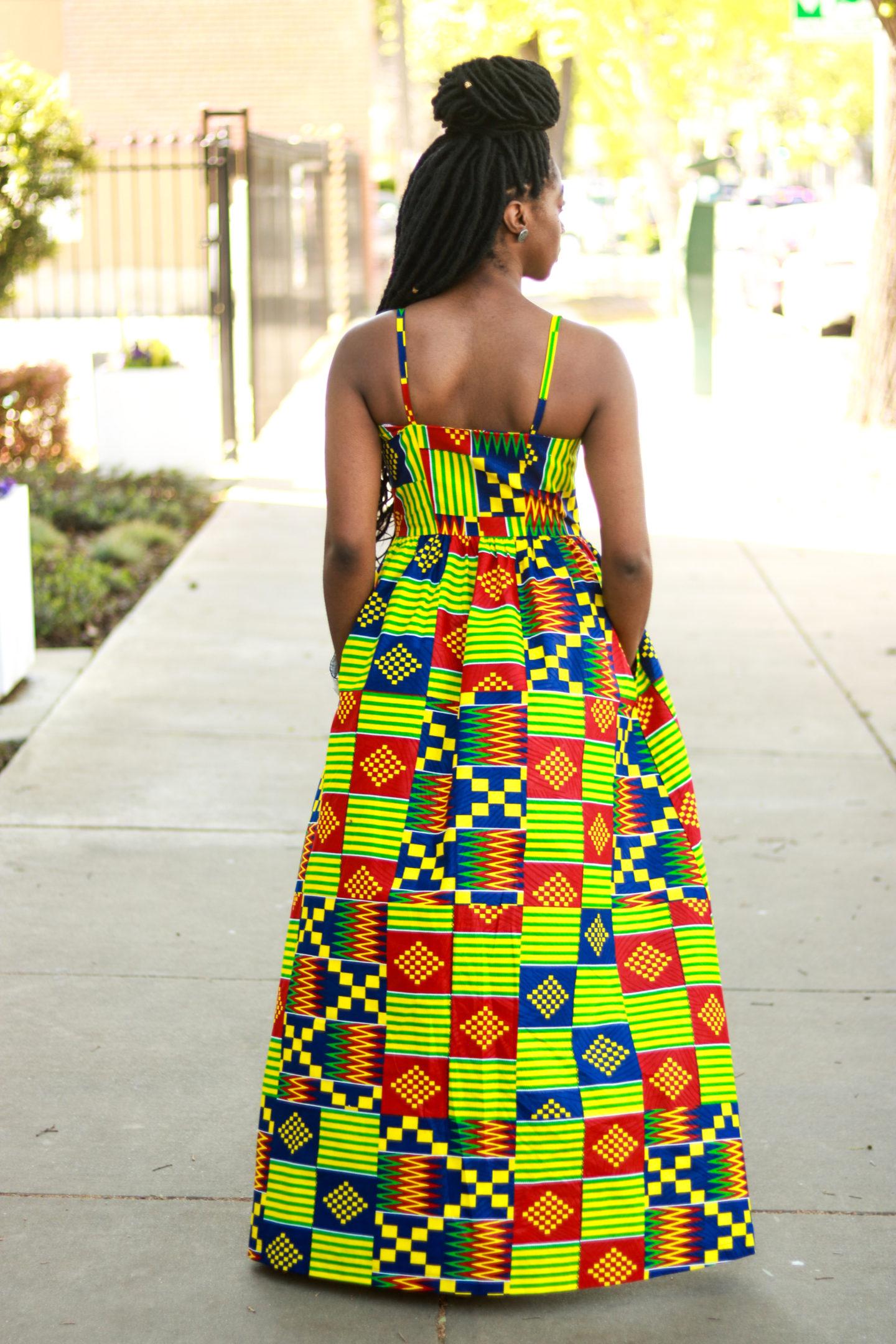 005ab7fa2f6 DIY Kente Print Ankara Maxi Dress with Pockets Buttons Jessica Dress  Pattern Review Kitenge Nigerian Fashion ...