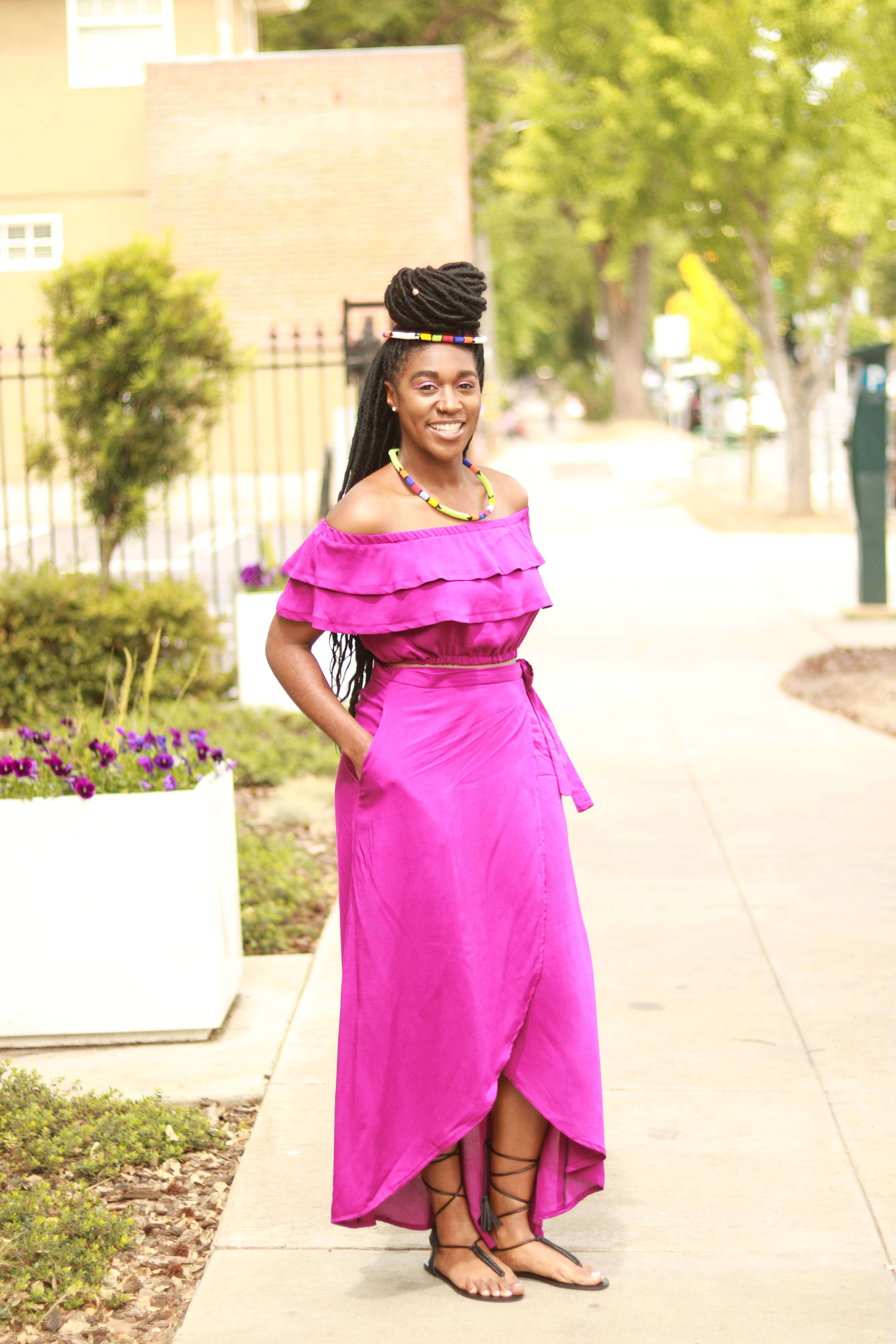DIY Wrap Skirt and Off the Shoulder Top with Double ...