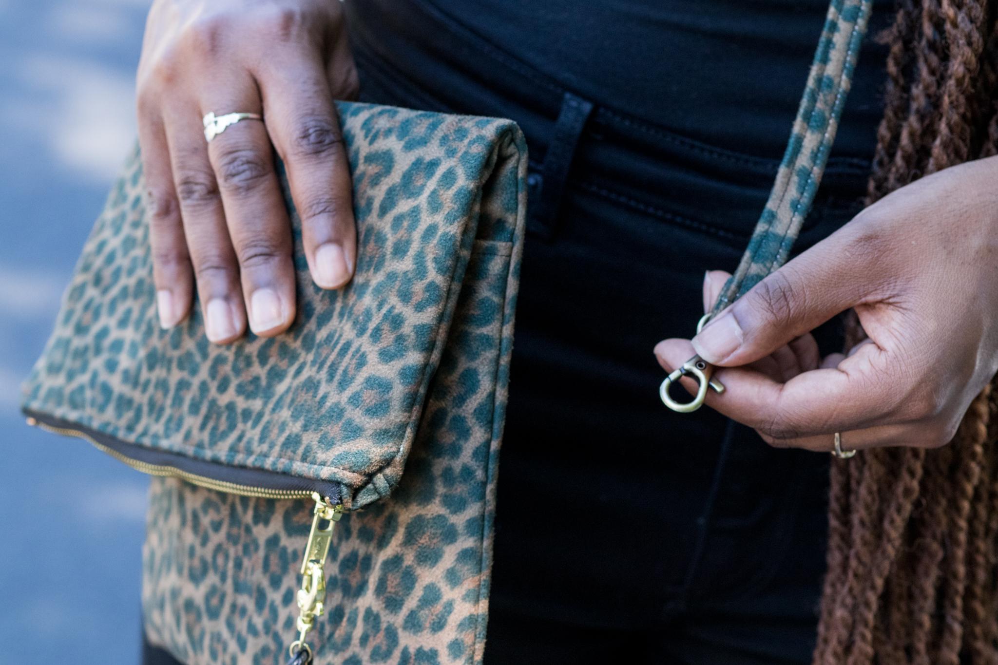 DIY Cheetah clutch purse crossbody bag tutorial-6 ...